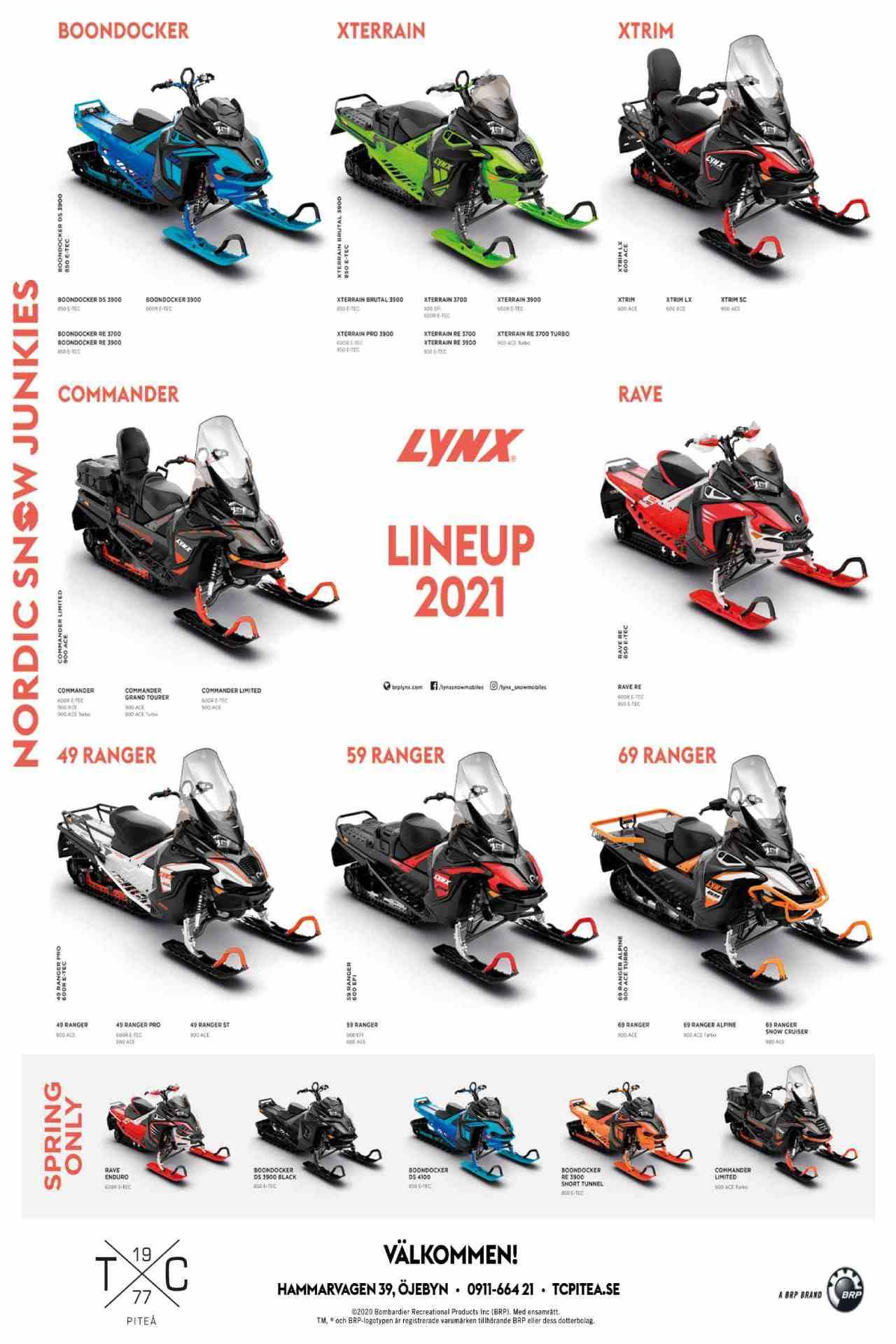 lynx lineup 2021 snöskoter